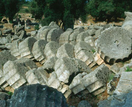Flutes on column drums at Paestum, Italy (They fell down in an earthquake)