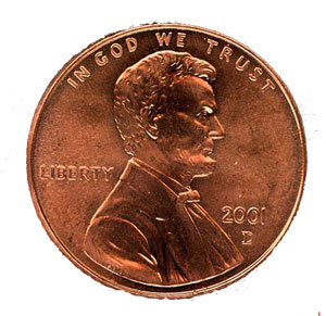 reddish metal penny coin