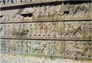 Stone carving of subjects bring tribute to Persepolis