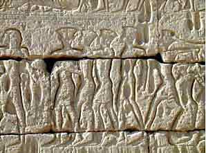 Philistines on the Egyptian temple at Medinet Habu