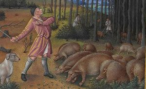 Medieval white man standing over some brown pigs