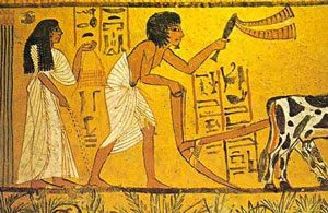 Egyptian painting of a man plowing while a woman scatters seeds