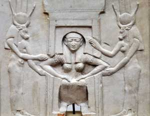 Childbirth with two gods helping (Ptolemaic Egypt, now in Tahrir, Egypt)