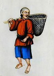 a chinese man wearing a short red tunic and blue shorts, carrying a net