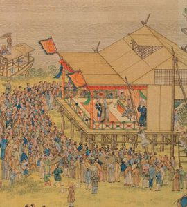 Qingming Festival stage with performers