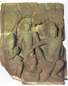 stone carving of a scene from the Ramayana