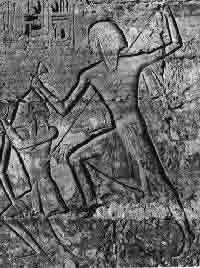 A large Egyptian carving of a man killing another man, with the image lines carved into the stone