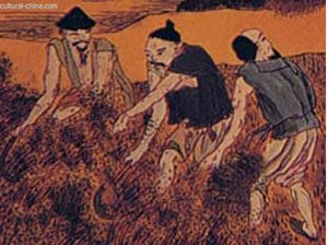 painting of three Chinese men with bare arms working in a field