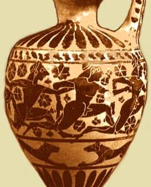 Greek pot with boys running a foot race all around the pot