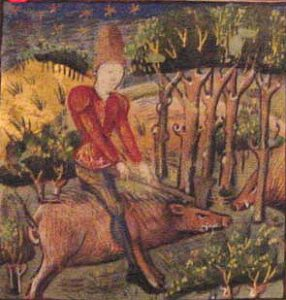 Medieval painting of a man with a pig
