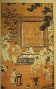 Painting of a room with a man sitting at a table and students standing around: People in ancient China