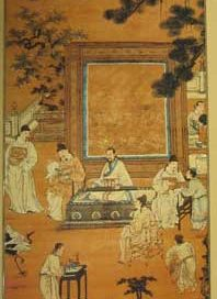 Painting of a room with a man sitting at a table and students standing around