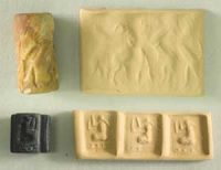 Cylinder seal and square seal from ancient Mesopotamia