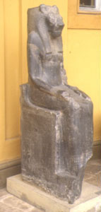 The lion-headed goddess Sekhmet, one way of showing the Egyptian goddess Mut (Vatican Museum, Rome)