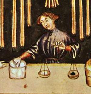 Selling sugar in medieval Europe(Theatrum sanitatis, codice 4182 della R. Biblioteca Casanatense. Rome, ca. 1375 AD)