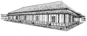drawing of a long low building with columns around the outside
