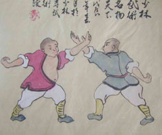 two men in shorts doing martial arts