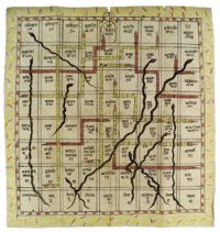 Game board with red and blue lines drawn on it like Chutes and Ladders