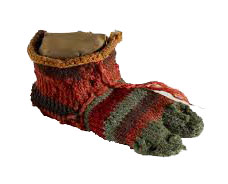 nalbinding sock in stripes of red and green with a separate big toe: history of knitting