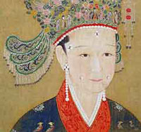 A Chinese woman wearing lots of pearls