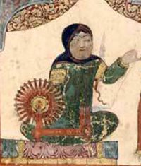 A woman using an early spinning wheel in Baghdad