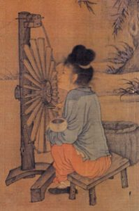 Chinese painting of a woman using a spinning wheel