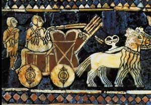Horse-drawn wagon, Standard of Ur (West Asia, 2500 BC)