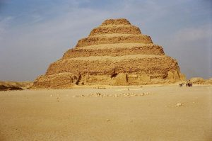 The Step Pyramid is a pyramid of stone that goes up in six steps from the desert - Egyptian Pyramids