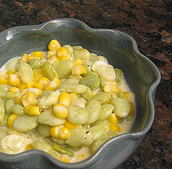 A bowl of succotash: corn and beans mixed together