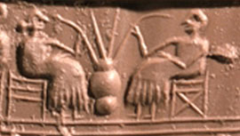 Sumerians sipping beer through straws (ca. 2500 BC)