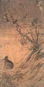 Chinese painting of birds and a rabbit