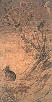 Painting of a rabbit and a tree