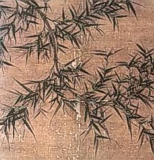 painting of a branch of bamboo with leaves