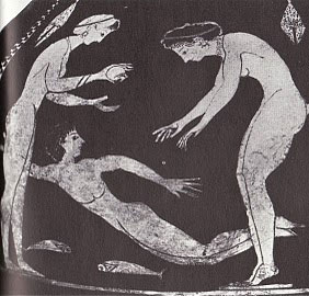 Girls swimming and diving in Ancient Greece ca.450 BC