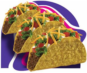 three corn tortillas filled with refried beans and tomatoes, cilantro, and cheddar cheese, in front of the taco bell logo