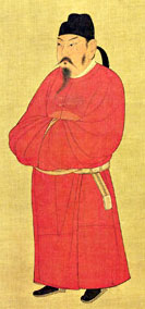 T'ai Tsung, standing in a red robe
