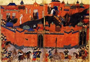 Painting of an army outside the walls of a city: Tamerlane and Baghdad