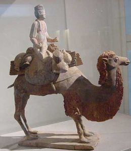 clay T'ang Dynasty camel in green and brown glaze