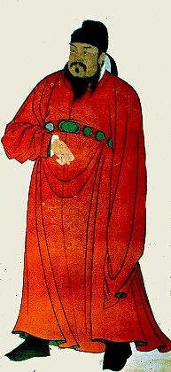 A Chinese man - a T'ang Dynasty emperor - dressed in red robes