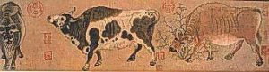 Chinese painting of cows