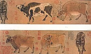 painting of two oxen