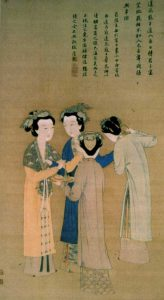 Chinese painting of four women wearing long robes