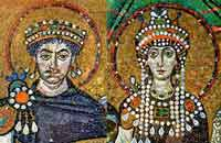 A mosaic of a man and a woman wearing long strings of pearls all over them