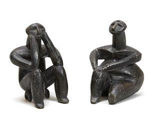 A thinking man and a sitting woman, Cernavoda, Romania, ca. 5000 BC