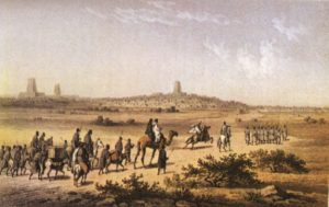 Painting of a camel caravan in the desert by Timbuktu