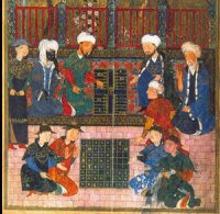 Central Asian men play backgammon while the women play checkers (?) (Timurid, ca. 1400 AD)