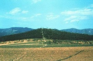 a grassy hill - the tomb of Qin