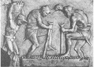 Roman slaves treading grapes