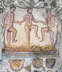 Three men in loincloths treading out wine (mosaic)