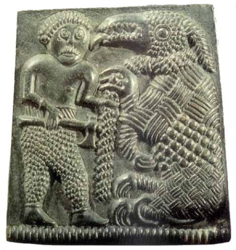 Tyr in Viking work from Sweden, 700s AD April 2017 - Tyr (or Tiw) was the German form of the Indo-European sky god Dyeus Piter, the same god as the Greek god Zeus, the Roman god Jupiter, and the Indian god Dyeus Pita. But unlike Zeus and Jupiter, Tyr was not in charge of the other gods - instead, Odin was. Probably in the earliest days of German religion Tyr was in charge, but later he was overthrown by Odin. Some later German stories say that Tyr was Odin's son,